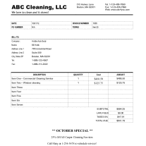 How To Create A Cleaning Invoice For Your Business - Cleaning service invoice template